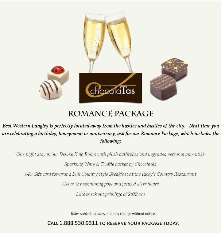 Best Western Langley Romance package for couples deal