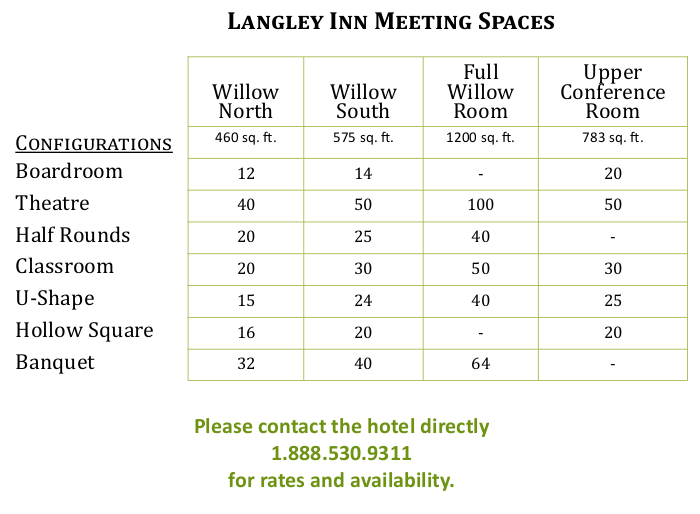 Best Western Langley Conference & Meeting Room Capacity